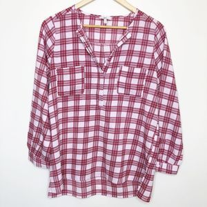 NWT Joie High-Low Plaid Popover Top, XS